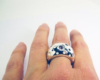Dotty and Chunky ring with tourmalines