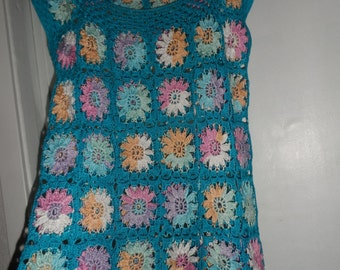 Crochet granny square turquoise blue multicolour flowers gipsy hippie boho  sleeveless top, summer beach top  OOAK Ready to ship!