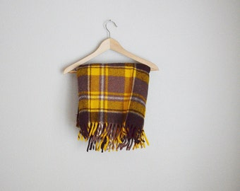 "vintage faribo yellow brown plaid wool fringe stadium picnic blanket -- 48"" by 48"""