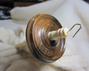 Drop Spindle in Brazilian Walnut & Pennsylvania Bird's Eye Maple, Silly Salmon Spindle