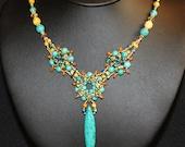 Turquoise Stone Necklace,Swarovski Crystals,Turquoise Beaded Necklace, Beaded Beads, Beadweaving Jewelry, Amy Johnson NX1051