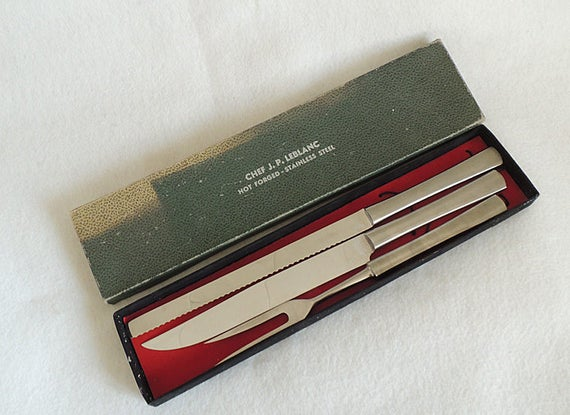 Vintage Mid-Century Chef J.P. LeBlanc 3 Pc. Hot Forged Stainless Steel Carving Knife & Fork Set.. Italy In Original Box