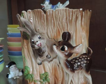 Bambi Cookie Jar Collectible Woodland Cookie Jar with Deerand Bunny Vintage Cookie Jar  Kitchy Cookie Jar Ceramic Cookie Jar Fawn Bambi Doe