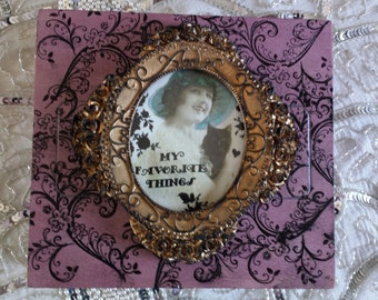 My Favorite Things Vintage Lady with Black Cat Designed Stamped Oval Embellishment Cigar Box