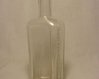 c1890s Dr. S.A. Tuttle Boston Mass., Scarce Clear Rectangle Cork Top Medicine Bottle