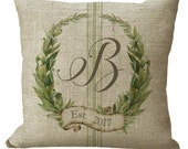 Monogram Custom Laurel Wreath with Grainsack Stripe in Choice of 14x14 16x16 18x18 20x20 22x22 24x24 26x26 inch Pillow Cover