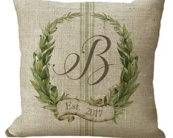 Monogram Custom Laurel Wreath with Grainsack Stripe in Choice of 14x14 16x16 18x18 20x20 22x22 24x24 26x26 inch Pillow Cover