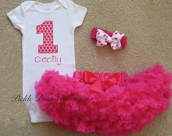 1st Birthday Girl Outfit, Baby Girl 1st Birthday Outfit, Hot Pink Personalized Bodysuit, Pettiskirt Tutu, Girls First Birthday Outfits