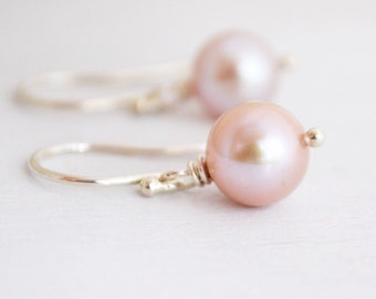 Simple Silvery Pink Freshwater Pearl Earrings,  Argentium Sterling Silver Hoops, June Birthstone, Gift Under 20