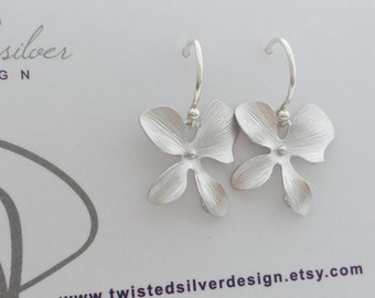 Silver Orchid Flower Earrings Dangle from Argentium Sterling Silver French Hoops, Simple Orchid Earrings