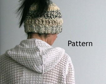 Messy Bun Crochet Hat Pattern, Winter Hat Pattern, Easy Chunky Crochet Pattern, Ponytail Crochet Hat