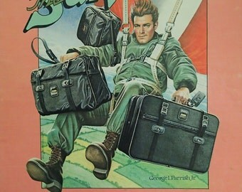 1983 Samsonite / George I Parrish Jr Print Ad - Crazy Illustration of Pilot Jumping Out of Plane Holding Samsonite Luggage