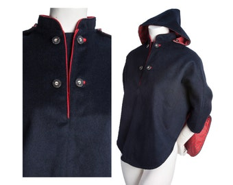 Vintage navy wool hooded cape with buttons -- vintage poncho / shawl removable hood -- size xs / small / medium