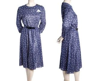 Blue boomerang print vintage dress -- 80s does 50s dress -- size xl / extra large