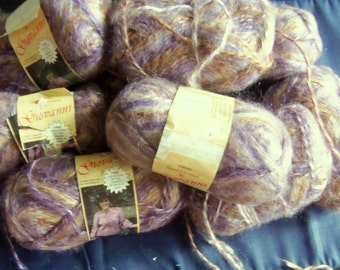 Giovanni Shimmering Lilac and Tan Deluxe Acrylic Yarn, 1.75 Ounce (50 Gram), 9 Skeins, Made In Israel