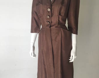 1950s Brown Silk Wiggle Day Dress with Pockets