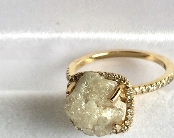Dazzling snow white-one of a kind engagement ring-14 k yellow gold -raw rough diamond - solitaire-size 4-as seen in glamour magazine
