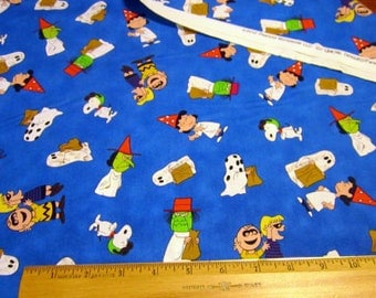 It's The Great Pumpkin Charlie Brown Characters on Blue premium cotton fabric by Quilting Treasures - snoopy, charlie brown, lucy, linus