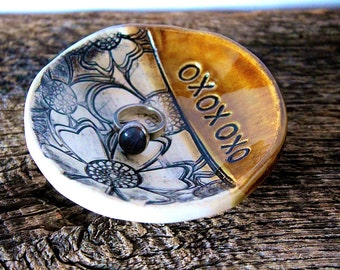 """PRE-ORDER, 3 1/2"""" Personalized Ring Dish, Ceramic, Handmade Pottery, by RiverStone Pottery"""