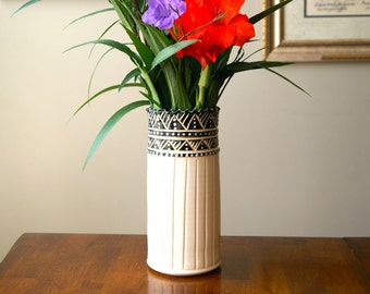 MADE TO ORDER....White and Black Vase, Handcrafted Wheel Thrown Pottery, by Hope
