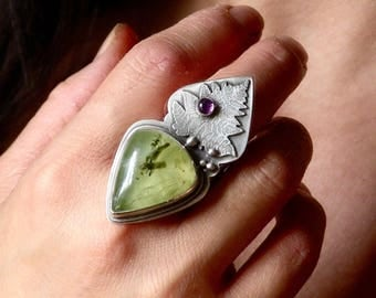 Sterling, Prehnite and Amethyst Ring - Homage to Lady Spring