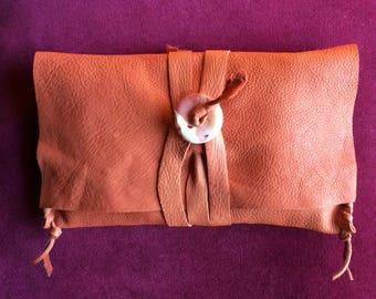 Medicine Bag, Deerskin Clutch Purse, Mookaite Jasper Donut Bead Shaman Tool Bag, Jewelry Bag, Deerskin Wallet, Deerskin Bag for Crystals