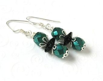Emerald Green and Black Drop Earrings, Dainty Beaded Earrings, Czech Bead Jewelry, Dark Green Bead Earrings, Minimalist Jewelry