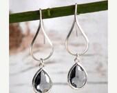 Silver Charcoal Drop Earrings.  Charcoal Grey Teardrop Drop Earrings.  Gift for Her.  Dangle Earrings. Modern Drop Earrings. Christmas Gift.