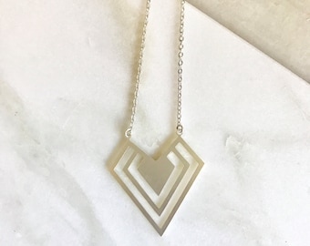 Geometric Charm Necklace. Simple Silver  Necklace. Simple Necklace. Silver Jewelry. Gift for Her. Holiday Gift Ideas.