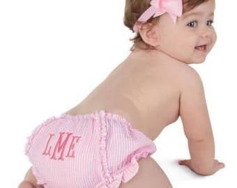 Baby Bloomers - Diaper Cover -Pink Seersucker - Monogrammed-Personalized - Baby Shower Gift - Mud Pie