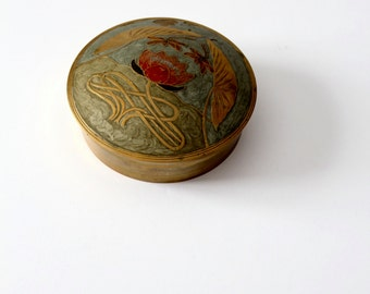 vintage brass box with enamel inlay floral design, lidded bowl