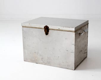vintage metal cooler, silver insulated storage box