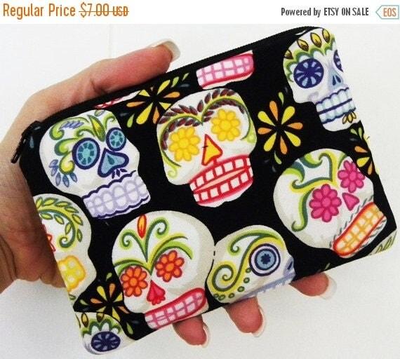 Mini Calaveras Small zipper accessory pouch