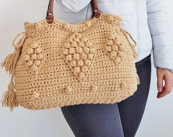 Cream Bag Camel Tote Leather Tote Handmade Bag Unique Bag Designer Christmas gift Caramel Shoulder Bag Camel Purse Crochet Handbag