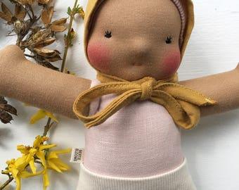 SONYA || waldorf inspired doll, custom hair, linen, bonnet