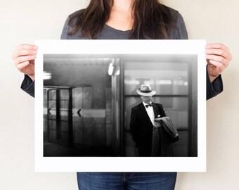 Barcelona street photography, Film noir photograph. Barcelona art monochrome, Modern decor. Debonair, timeless style.