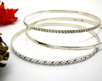 Sterling silver stacking bangle bracelets set of 3 hammered, patterned stack bangles handmade, Patterned set stacking  bracelets
