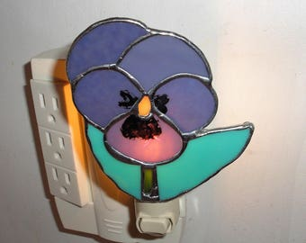 LT Stained Glass Pansy flower night light lamp made with a lilac purple opal glass my hand made in the USA glass art