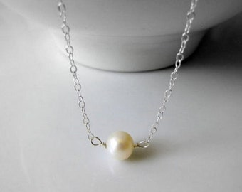 Sterling Silver Pearl Choker Necklace Simple Necklace White Pearl Minimalist Necklace Bridesmaid's Gift Sets Maid of Honor Gift Bridal