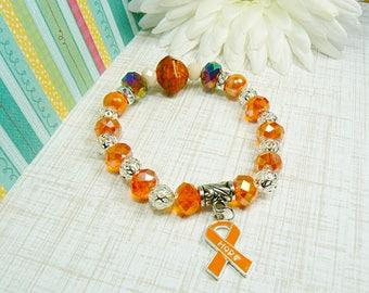 RSD/CRPS Awareness Bracelet, Multiple Sclerosis Awareness Bracelet, Awareness Jewelry, Orange Ribbon Awareness Bracelet, MS Jewelry
