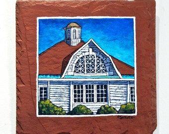 Fine Art Painting on Salvaged Red Slate Architectural Building Feick Arts Center