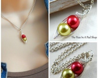 Christmas Sale Peapod Necklace - Two Peas In A Pod Silver Necklace