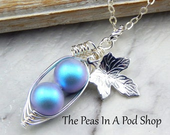 Two Peas In A Pod Necklace,Two peas in a Pod Iridescent Light Blue Necklace With Vine and Leaf.Ideal For Brides,Mom of two boys,Family pod