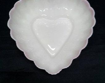 Antique Irish Beleek Heart Bowl Pink rim Eggshell Porcelain Decorative Candy Dish