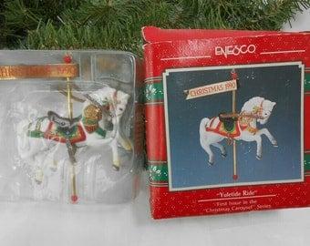 Vintage Enesco Carousel horse 1990 Enesco carousel horse in original package Enesco Carousel white pony Enesco carousel series