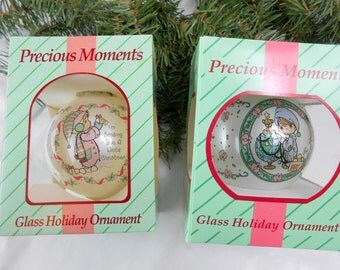 Vintage Enesco Christmas Enesco Precious Moments 1994 dated Enesco Presious Moments glass Holiday Christmas Ornament twin ornament