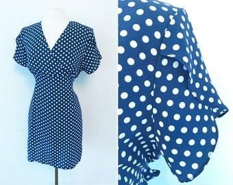 MOD Vintage Polka Dot Dress with Scalloped Sleeves / Vintage / Size L