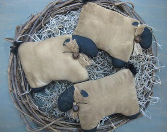 Primitive Sheep Bowl Fillers - Set of 3 - Grungy Muslin Lambs - Primitive Lamb Ornies - Sheep Tucks