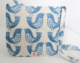 Scandi Bird Print Oilcloth Mabel Messenger Bag