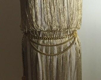 Gold Goddess Metallic Fringe Flapper Style Party Dress